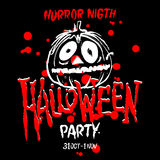 Halloween-Party-Auslegungschablone, mit Kürbis und Platz für Text Stockbild