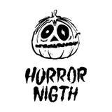 Halloween-Party-Auslegungschablone, mit Kürbis und Platz für Text Horrornacht Stockfotos