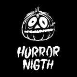 Halloween-Party-Auslegungschablone, mit Kürbis und Platz für Text Horrornacht Lizenzfreie Stockbilder