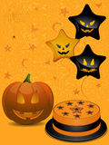 Halloween party background. With pumpkin, cake and balloons Royalty Free Stock Images