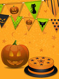 Halloween party background. With pumpkin, cake and balloons Stock Photos