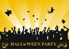 Halloween party background. A Halloween party background with a ghosts,bats,witch and silhouettes of partying people royalty free illustration