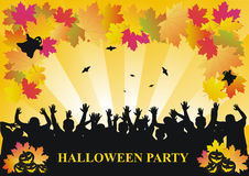 Halloween party background. With partying people,maple leaves,pumpkins and bats vector illustration