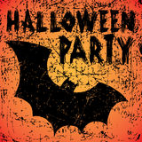 Halloween Party background. With bat and calligraphy inscription. Vector illustration. Hipster brush made texture Stock Image