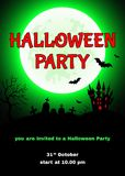 Halloween  party  background  with  castle, cemetery  Stock Photo