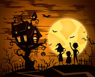 Halloween party background with castle silhouette Royalty Free Stock Photo