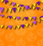 Halloween Party Background with Colored Bunting Pennants Royalty Free Stock Images