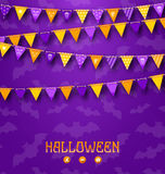Halloween Party Background with Colored Bunting Pennants Stock Images