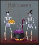 Halloween Party Background. Colorful Halloween party invitation and background with skeletons Royalty Free Stock Photo