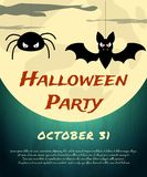 Halloween Party background with creepy bat, spider and moon Stock Photo