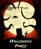 Halloween Party background with creepy graveyard and moon Royalty Free Stock Photography