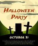Halloween Party background with creepy graveyard and moon Royalty Free Stock Photo