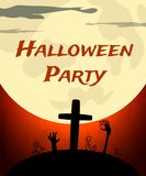 Halloween Party background with creepy moon and graveyard Stock Image