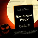 Halloween Party background with creepy pumpkin and moon. Vector illustration Stock Image
