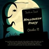 Halloween Party background with creepy tree and moon Royalty Free Stock Images