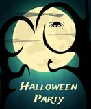 Halloween Party background with creepy tree and moon Stock Photo
