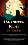 Halloween Party background with creepy tree and moon Royalty Free Stock Photography