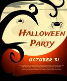 Halloween Party background with creepy tree, spiders and moon Stock Photos