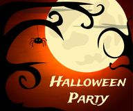 Halloween Party background with creepy trees and moon. Vector illustration Stock Photos