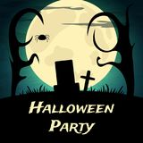 Halloween Party background with creepy trees and moon. Vector illustration Royalty Free Stock Images