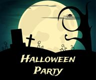 Halloween Party background with creepy trees and moon. Vector illustration Royalty Free Stock Photography