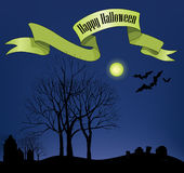 Halloween Party Background. Forest at moon light Stock Photography