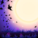 Halloween Party Background. Halloween Party Illustration with Bat in the Sky, Grass and Moon Royalty Free Stock Photo