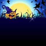 Halloween Party Background. Halloween Party Illustration with Pumpkin in the Grass, Bats, Ghost, Moon and place for your text Royalty Free Stock Image