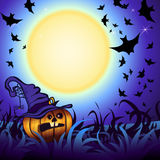 Halloween Party Background. Halloween Party Illustration with Pumpkin in the Grass, Bats and Moon Royalty Free Stock Photo