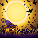 Halloween Party Background. Halloween Party Illustration with Pumpkin in the Grass, Bats and Moon Royalty Free Stock Images
