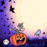 Halloween Party Background. Halloween Party Illustration with Pumpkin in the Grass, Bats and Moon Stock Photos