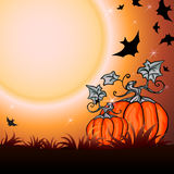 Halloween Party Background. Halloween Party Illustration with Pumpkin in the Grass, Bats and Moon Royalty Free Stock Photography