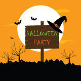 Halloween party  background with moon, bats, hat,  spooky Royalty Free Stock Photos