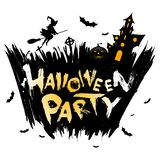 Halloween Party Background with Moon, Witch and Haunted House Stock Illustration