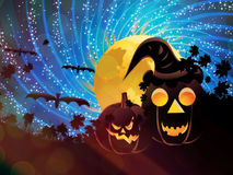 Halloween party background with pumpkins Stock Image