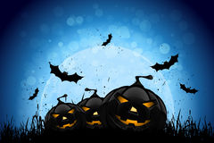Halloween Party Background with Pumpkins and Moon Royalty Free Stock Photo