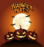 Halloween Party Background with Pumpkins Royalty Free Stock Photography