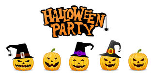 Halloween Party Background with Pumpkins Stock Photos