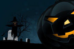 Halloween Party Background with Scarecrow, Ghosts Pumpkins Stock Photo