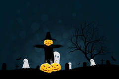Halloween Party Background with Scarecrow, Ghosts Pumpkins Royalty Free Stock Image