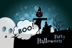 Halloween Party Background with Scarecrow, Ghosts, Pumpkins Stock Image