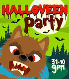 Halloween party background with werewolf Royalty Free Stock Photo