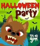 Halloween party background with werewolf Stock Photos