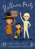 Halloween party banner design with kids Royalty Free Stock Photos