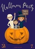 Halloween party banner design with kids Royalty Free Stock Photography