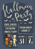 Halloween party banner design with kids Stock Images