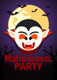 Halloween Party banner with Dracula Royalty Free Stock Photos
