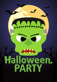 Halloween Party banner with Frankenstein Royalty Free Stock Photography