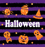 Halloween Party Banner with Shine Orange Traditional Icons Stock Photos