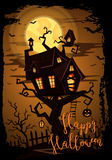 Halloween party banner with spooky castle royalty free illustration